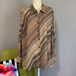 Lane Bryant Horizontal Stripe Button Down 26/28 B9